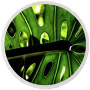 Green Leave With Holes Round Beach Towel