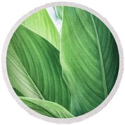 Green Leaves No. 2 Round Beach Towel by Todd Blanchard