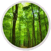 Green Light Harmony - Walking Through The Summer Forest Round Beach Towel
