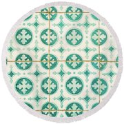 Green Lucky Charm Lisbon Tiles Round Beach Towel