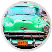Green Machine Round Beach Towel