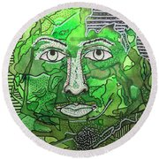 Green Man Round Beach Towel