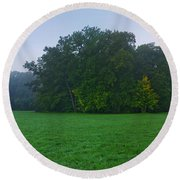 Green Meadow In Autumn Round Beach Towel