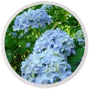 Green Nature Landscape Art Prints Blue Hydrangeas Flowers Round Beach Towel