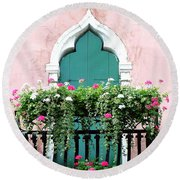 Green Ornate Door With Geraniums Round Beach Towel