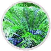 Green Palm Round Beach Towel