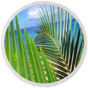 Green Palm Leaves Round Beach Towel
