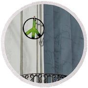 Green Peace Round Beach Towel
