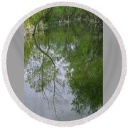 Green Peace - Trees Reflection Round Beach Towel