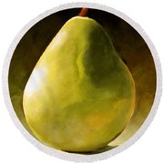 Green Pear Round Beach Towel