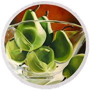 Green Pears In Glass Bowl Round Beach Towel
