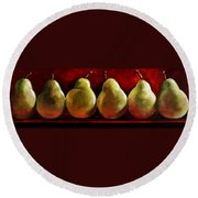 Green Pears On Red Round Beach Towel by Toni Grote