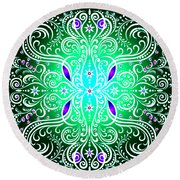 Green Piece Mandala Round Beach Towel