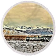 Green Plow On An Early Winter Morning Round Beach Towel