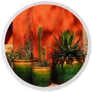 Green Pots Round Beach Towel
