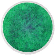 Green Radation With Violet  Round Beach Towel