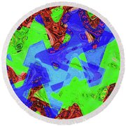 Green Red And Blue Melody Panel Abstract Round Beach Towel