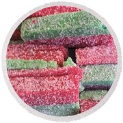 Green Red Sugary Sweet Round Beach Towel
