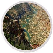 Green River Carving Canyon Round Beach Towel