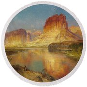 Green River Of Wyoming Round Beach Towel by Thomas Moran
