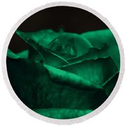 Green Rose Round Beach Towel