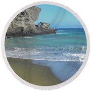 Green Sand Beach Round Beach Towel