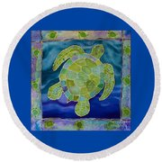 Green Sea Turtle Silk Painting Round Beach Towel