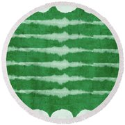 Green Shibori 3- Art By Linda Woods Round Beach Towel