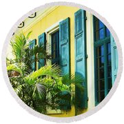 Green Shutters Round Beach Towel