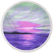 Green Skies And Purple Seas Sunset Round Beach Towel