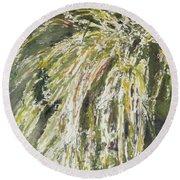 Green Reeds Round Beach Towel