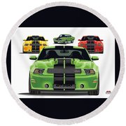 Green Stang Round Beach Towel