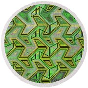 Green Steps Abstract Round Beach Towel