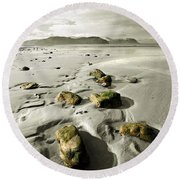 Green Stones On A North Wales Beach Round Beach Towel