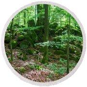 Green Stony Forest In Vogelsberg Round Beach Towel