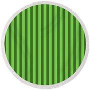 Green Striped Pattern Design Round Beach Towel