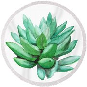 Green Succulent  Round Beach Towel