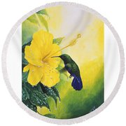 Green-throated Carib Hummingbird And Yellow Hibiscus Round Beach Towel