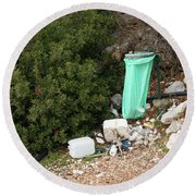 Green Trash Bag And Rubbish In Croatia Round Beach Towel