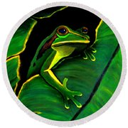 Green Tree Frog And Leaf Round Beach Towel