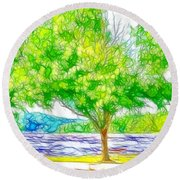 Green Trees By The Water 3 Round Beach Towel