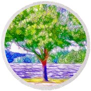 Green Trees By The Water  5 Round Beach Towel