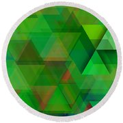 Green Triangles Over Green Mist Round Beach Towel