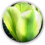 Green Tulip Round Beach Towel