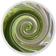 Green Twirl Round Beach Towel