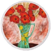 Green Vase And Poppies Round Beach Towel