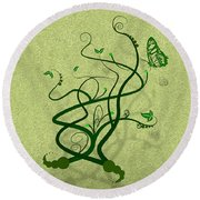 Green Vine And Butterfly Round Beach Towel