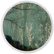 Green Wall Abstract Round Beach Towel