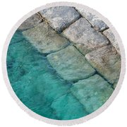 Green Water Blocks Round Beach Towel