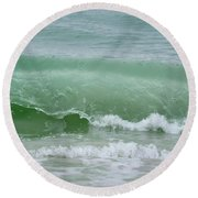 Green Wave Round Beach Towel